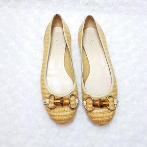 Gucci Raffia Bamboo Horsebit Ballet Flats